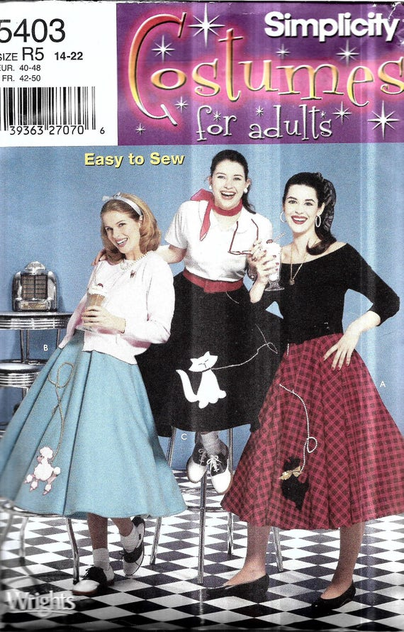 Womens Poodle Skirt Pattern Bobby Soxer Costume