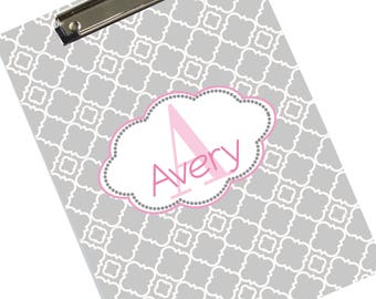 "Custom Clipboards Personalized Customized Clipboard Pink & Gray Monogrammed Clip Board Gift for Girls Her 9"" x 12"" student CLIP-452"