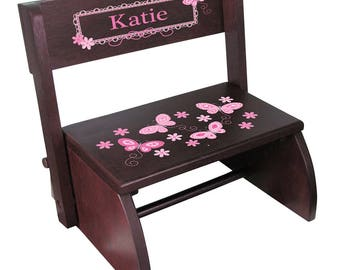 Personalized Espresso Flip and Folding Step Stool with Pink Butterflies Design-stoo-esp-300a