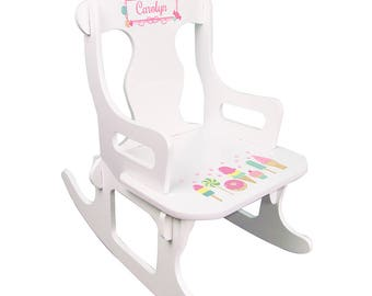 Personalized White Puzzle Rocking Chair with Sweet Treats Candy Design-puzz-whi-331