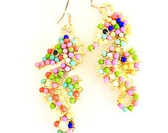 Gold Seahorse Earrings, Seahorse Lover, Summer Earrings, Gold Seahorse Charm