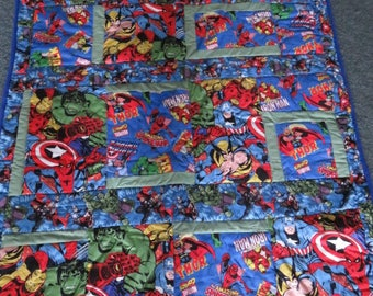 superheros quilt, approx 50x60 fleece backing