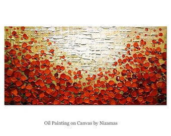 Oil painting on canvas Poppy Field palette knife technique extra texture by Nizamas