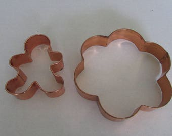 Vintage set of two copper coated tin sheet metal cookie cutters Gingerbread Man Flower petal french kitchen christmas display baking