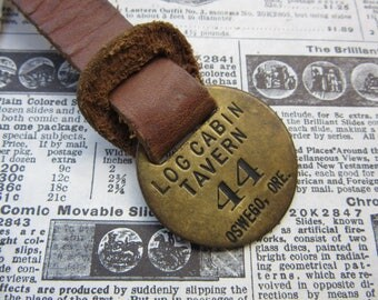 Vintage Brass Metal Tag Number 44 Tag LOG CABIN Tavern Hotel Room Oswego Oregon #44 Antique Original Leather Fob Keychain Room # Key Chain