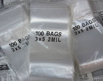 100 Plastic Zip Lock Bags 3x5 Inch 2 Mil Storage Baggies Bags Supply Organization Shipping Supplies  Poly Bags Stamps Beads Collectibles