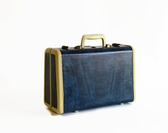 vintage small Samsonite suitcase with key marble blue 1950s luggage