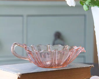 Vintage Anchor Hocking Pink Pearl & Oyster Heart Candy Dish Bowl