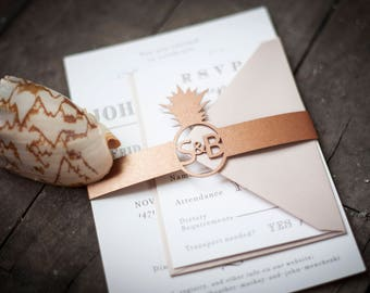 Pineapple Laser Cut Belly Band with Custom Monogram for Wedding Invitations