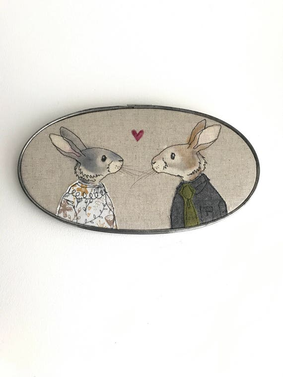 rabbit couple - embroidery art - free motion stitching - hoop art - fabric art
