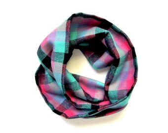 Plaid Scarf, Toddler Scarf, Flannel Scarf, Girl Scarf, Childrens Scarves, Baby Bib Scarf, Infinity Scarf, Under 20 dollars, Ready to Ship