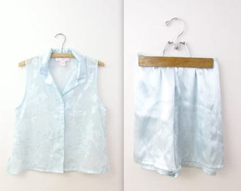 SALE Vintage Oscar de la Renta Sleep Shorts Set - Satin Lingerie in Pastel Blue - Medium