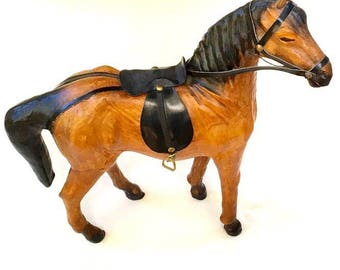 Vintage Leather Horse Statue