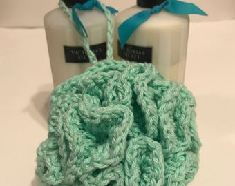 Handmade Mint Green Crochet Bath Pouf gift for her or her under 10 gift basket idea made with 100% cotton yarn