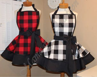 MamaMadison Woman's Apron In All New Buffalo Plaid Check Fabric...You Choose Color, Plus Size And Children Aprons Available Too