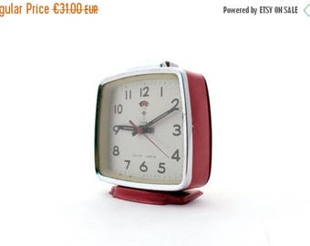 SALE 20% off Vintage Red alarm clock made in China 80s, Polaris alarm clock, Mechanical red clock