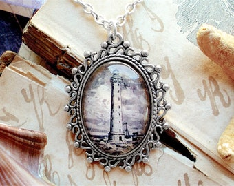 Lighthouse Necklace - Antique Nautical Print Pendant in Silver