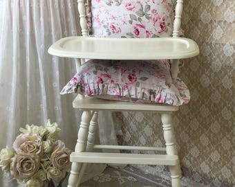 Shabby White Jenny Lind Wooden Highchair, Toddler Baby Chair, Nursery, Cake Smash, photo prop, Baby Seat, Shower gift, fanny pippin