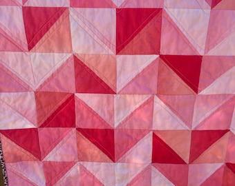 "Handmade ""Pretty in Pink"" reversible chevron crib quilt baby Blanket"