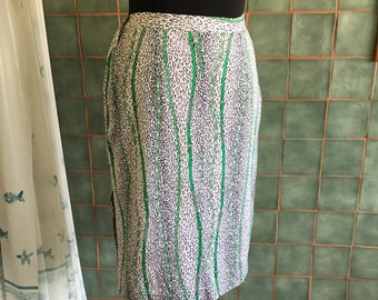 Vintage pencil skirt chains animalier cotton