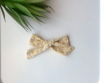 Girl's mustard yellow floral hair bow clip girls vintage modern