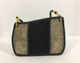 Mid Century Modern, vintage, black and gold purse