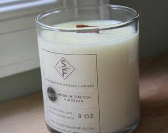 "PATCHOULI, CEDAR, SAGE, Sandalwood, and Vanilla: 8 oz. Aromatherapy ""Serenity"" Candle"