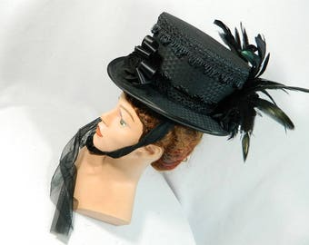 Midi Tophat black Steampunk Fascinator Headpiece Bridal riding hat Victorian Edwardian Civil war ladieshat Gothic