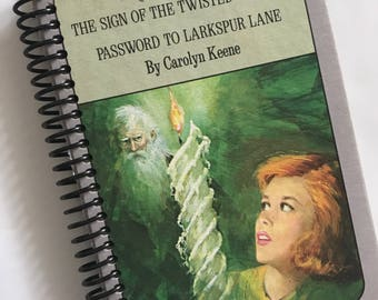 NANCY DREW MYSTERIES book journal notebook Recycled Upcycled Spiral Bound  Carolyn Keene