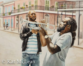 Watercolor - The Trumpet Player - Print on Paper