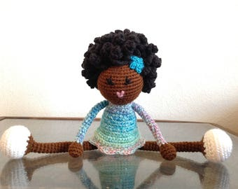 Crochet African American Doll, pastel rainbow colors, multicolored Plush Afro Natural Black Hair Stuffed Toy Baby Girl Gift MADE TO ORDER