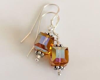Topaz Swarovski Crystal Cube Earrings