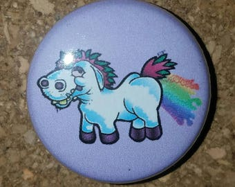 "Derpy Unicorn 1"" Pin, Lavender, Pinback Button"
