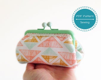 Small pouch frame purse sewing pattern, make up bag, money pouch, pdf sewing tutorial, template 4.33 in 11 cm