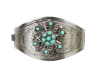 Vintage Etruscan Revival Style Hinged Silver-tone Cuff Bracelet with Turquoise Plastic Bead Filigree Medallion // Wonder Woman Warrior Cuff