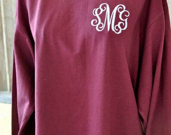Monogrammed Long Sleeve T Shirt, Long Sleeve Monogrammed T-Shirt, Personalized Long Sleeve T shirt Embroidered, LS T Shirt
