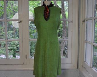 Crisp Green Apple Burlap Dress/Vintage 1960s/Summer Office Dress/Linen Crisp Summer Dress/Alison Ayres/Size Medium Largel