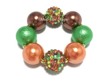 Toddler or Girls Fall Chunky Bracelet - Orange, Green and Brown Chunky Bracelet - Girls Acorn Bracelet - Thanksgiving Chunky Bracelet