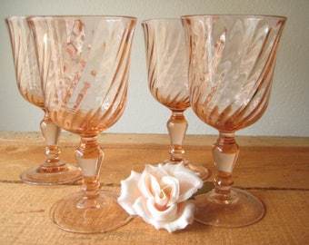 Set of Four French Pink Swirl Wine Glases/Pink Wedding Wine Glasses/Antique French Wine Glasses/ Wedding Toasting Glasses