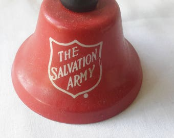 """Vintage Salvation Army red bell with wood handle 5"""" tall"""