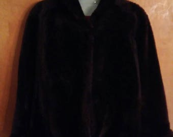 Vintage brown faux or real? Mouton Lamb fur coat with cuffs