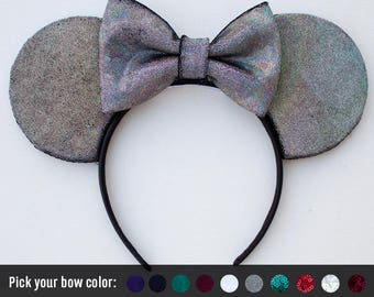 Black Holographic Ears / Black Mouse Ears / Gun Metal Disney Ears / Disneyland / Mickey Mouse Ears / Minnie Mouse / Gift for her / Xmas gift