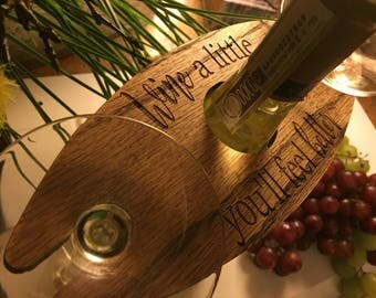 Wine a little you'll feel better, wine caddy, wine glass holder, wine gift, wine party , chrismtas party gift, hostess gift, wine lovers,