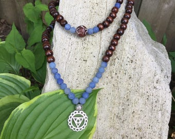 Yogi-inspired 108 wood bead mala meditation bracelet necklace with frosted blue quartz and 5th throat chakra charm