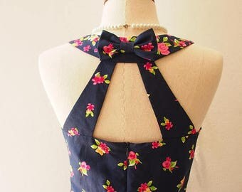 Mid Year SALE Navy Vintage Sundress Summer Dress In the Wonderland Cut Off Back Backless Dress Cute Sweet Sexy Tea Party Dress