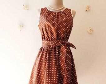 Mid Year SALE Brown Dress Polka Dot Swing Dress Vintage 50's Inspired Tea Dress Brown Bridesmaid Dress Brown Party Dress Plus Size