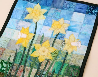 Batik Daffodil Quilted Wall Hanging / Art Quilt, Pattern or Kit, by PingWynny