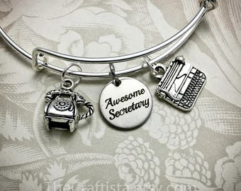 SEC, Secretary Bracelet, Awesome Secretary, Typewriter Charm, Office Worker, Secretary Bangle, Boss Bangle, Office Worker, Secretary Day