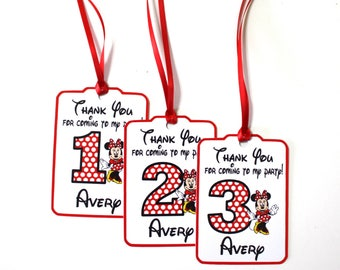 Set of 12 Thank You Party Favor Tags,  Minnie Mouse Personalized Happy Birthday Party Favors Thank You Tags, Minnie Mouse Party Supplies