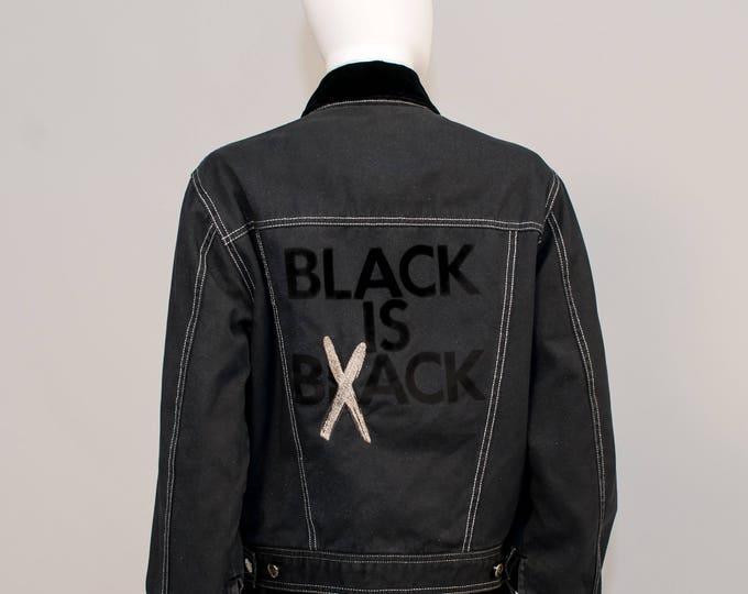 1990's 90's Vintage Moschino Jeans Slogan Glitter Grey And Black Denim Padded Jacket Coat S UK 10 Black is Back